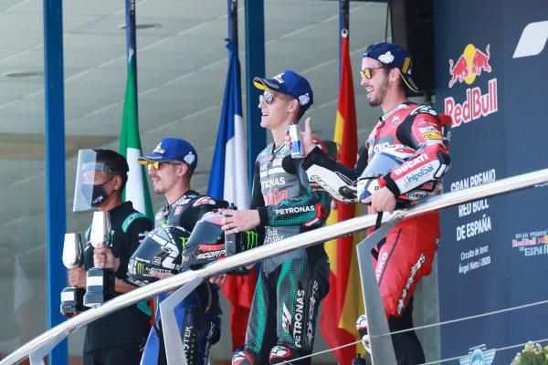 Race winner Fabio Quartararo, Petronas Yamaha SRT, second place Maverick Vinales, Yamaha Factory Racing, third place Andrea Dovizioso, Ducati Team.