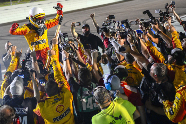 Joey Logano, driver of the #22 Shell Pennzoil Ford Fusion for Team Penske wins the Ford EcoBoost 400 and the Monster Energy NASCAR Cup Series championship.
