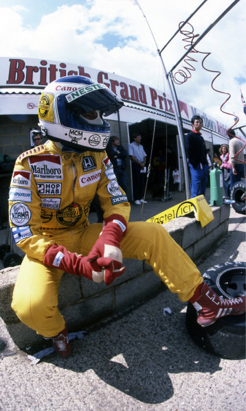 Keke Rosberg (FIN) Williams set a new qualifying speed record and took pole position. Formula One World Championship, Rd8 British Grand Prix, Silverstone, England, 21 June 1985. BEST IMAGE.