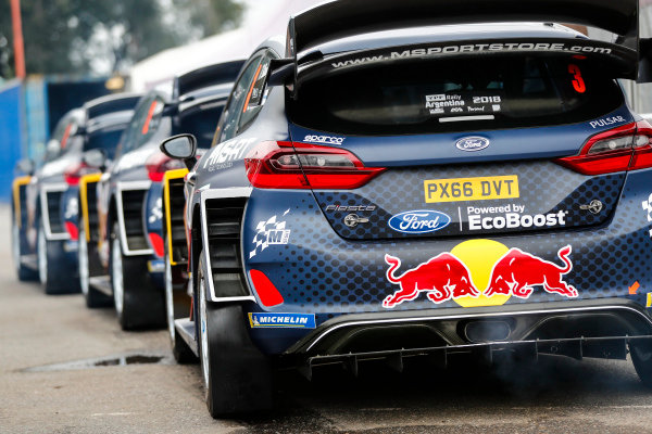 The three Ford Fiesta WRC cars entered for Rally Argentina 2018
