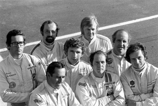 L to R: Andrea de Adamich(ITA) Henri Pescarolo(FRA). Jack Brabham(AUS), Rolf Stommelen(GER), Ronnie Peterson(SWE), Peter Gethin(GBR), Denny Hulme(NZL) and Jean Pierre Beltoise(FRA)  Canadian GP, St Jovite, 20 September 1970