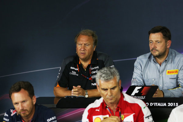 Autodromo Nazionale di Monza, Monza, Italy. Friday 4 September 2015. Bob Fernley, Deputy Team Principal, Force India, Paul Hembery, Director, Pirelli Motorsport, Christian Horner, Team Principal, Red Bull Racing, and Mauricio Arrivabene, Team Principal, Ferrari, in the Team Principals Press Conference. World Copyright: Jed Leicester/LAT Photographic ref: Digital Image JL2_8027