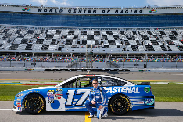 13-21 February, 2016, Daytona Beach, Florida USA   Ricky Stenhouse Jr., driver of the #17 Fastenal Ford, poses with his car after qualifying for the NASCAR Sprint Cup Series Daytona 500 at Daytona International Speedway on February 14, 2016 in Daytona Beach, Florida.   LAT Photo USA via NASCAR via Getty Images