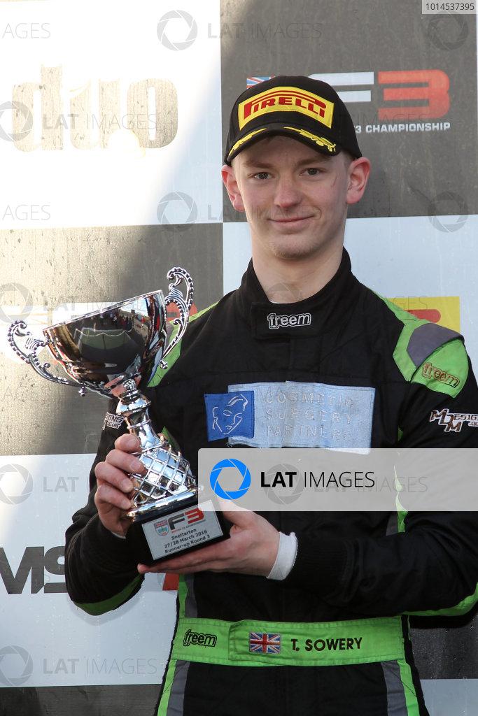 2016 BRDC British Formula 3 Championship, Snetterton, Norfolk. 27th - 28th March 2016. Toby Sowery (GBR) Lanan Racing BRDC F3. World Copyright: Ebrey / LAT Photographic.