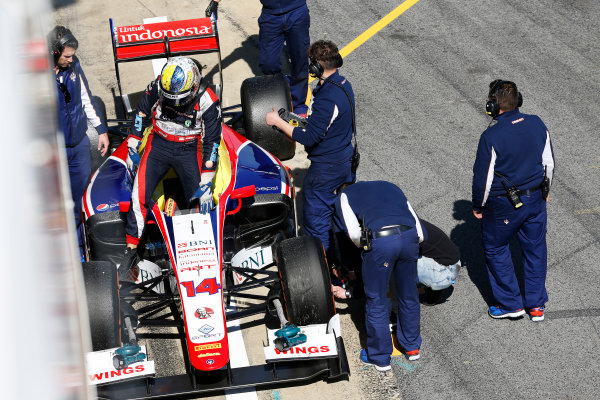 2016 GP2 Series Test 1. Circuit de Catalunya, Barcelona, Spain. Friday 11 March 2016. Philo Paz Armand (INA, Trident) steps out of his car World Copyright: Sam Bloxham/LAT Photographic. ref: Digital Image _R6T9192