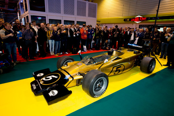 Autosport International Exhibition.  National Exhibition Centre, Birmingham, UK. Thursday 14 January 2016.  Classic Team Lotus unveil the Lotus Type 56 B. World Copyright: Sam Bloxham/LAT Photographic. ref: Digital Image _SBL6142