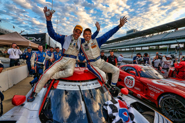 24-25 July, 2014, Indianapolis, Indiana USA Winners Joao Barbosa and Christian Fittipaldi celebrate in victory lane.  Chevrolet Corvette ©2014, Michael L. Levitt LAT Photo USA