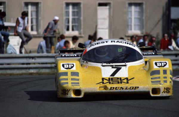 "Klaus Ludwig (GER) / Paolo Barilla (ITA) / ""John Winter"" (GER) Joest Racing Porsche 956. Le Mans 24 Hours, Le Mans, France, 16 June 1985."