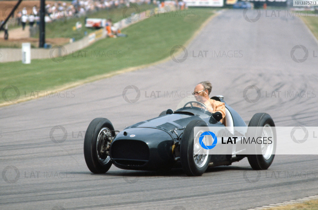 Tom Wheatcroft drives a BRM around Donington Park.