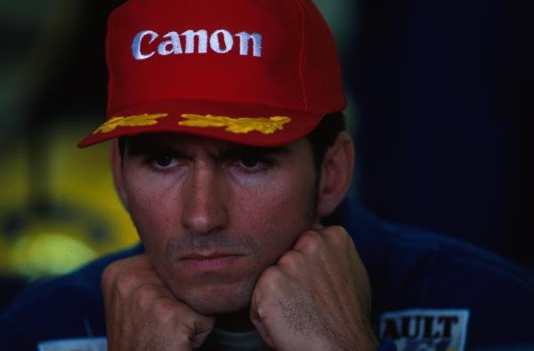 Damon Hill, unhappy after missing out on his first Grand Prix victory.