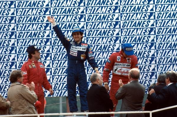 The podium (L to R): Patrick Tambay (FRA) Ferrari second; Alain Prost (FRA) Renault winner; Eddie Cheever (USA) Renault third. 