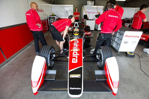 FIA Formula E Test Day, Donington Park, UK.  3rd - 4th July 2014.  Karun Chandhok, Mahindra Racing. Photo: Malcolm Griffiths/FIA Formula E ref: Digital Image A50A2902