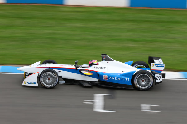 FIA Formula E Test Day, Donington Park, UK.  19th August 2014. Franck Montagny, Andretti Autosport. Photo: Malcolm Griffiths/FIA Formula E ref: Digital Image F80P8944