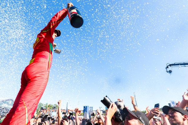 2016/2017 FIA Formula E Championship. Round 11 - Montreal ePrix, Canada Saturday 29 July 2017. Lucas Di Grassi (BRA), ABT Schaeffler Audi Sport, Spark-Abt Sportsline, ABT Schaeffler FE02, celebrates on the podium. Photo: Malcolm Griffiths/LAT/Formula E ref: Digital Image MALK5536