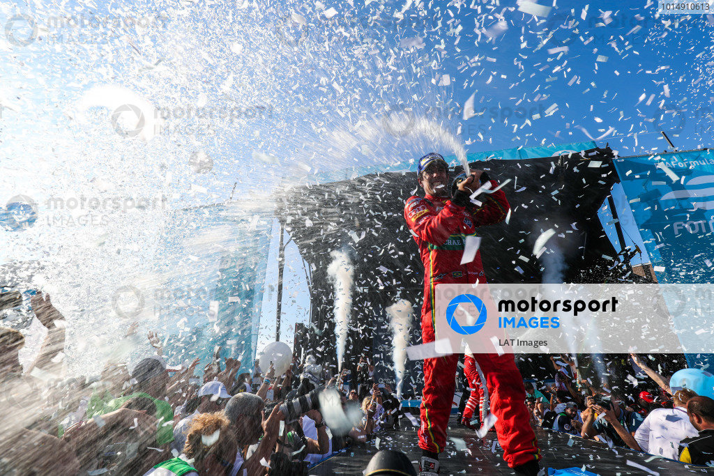 2016/2017 FIA Formula E Championship. Round 12 - Montreal ePrix, Canada Sunday 30 July 2017. Lucas Di Grassi (BRA), ABT Schaeffler Audi Sport, Spark-Abt Sportsline, ABT Schaeffler FE02, sprays the champagne on the podium after winning the race. Photo: Malcolm Griffiths/LAT/Formula E ref: Digital Image MALC7569