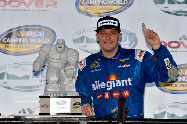 NASCAR Camping World Truck Series Bar Harbor 200 Dover International Speedway, Dover, DE USA Friday 2 June 2017 Johnny Sauter, Allegiant Airlines Chevrolet Silverado celebrates his win in Victory Lane World Copyright: Nigel Kinrade LAT Images ref: Digital Image 17DOV1nk06915
