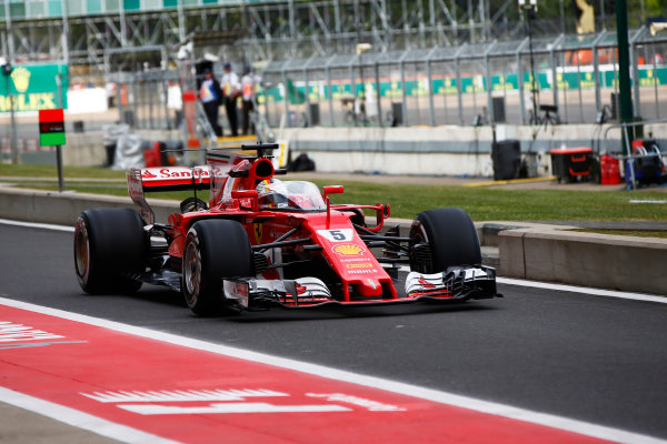 Silverstone, Northamptonshire, UK.  Friday 14 July 2017. Sebastian Vettel, Ferrari SF70H running with the shield attached. World Copyright: Hone/LAT Images  ref: Digital Image _ONY5521