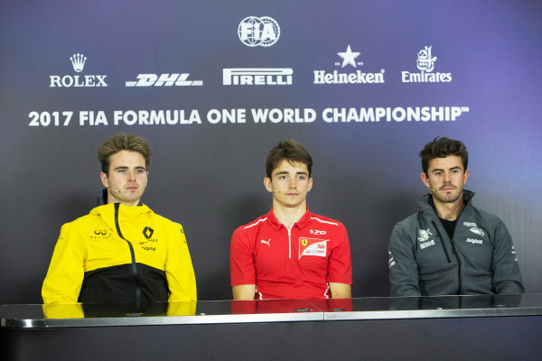 2017 FIA Formula 2 Round 6. Silverstone, Northamptonshire, UK. Charles Leclerc (MCO, PREMA Racing). Oliver Rowland (GBR, DAMS). and Norman Nato (FRA, Pertamina Arden).  Friday 14 July 2017. Photo: Romney/FIA Formula 2. ref: Digital Image AM1T2546