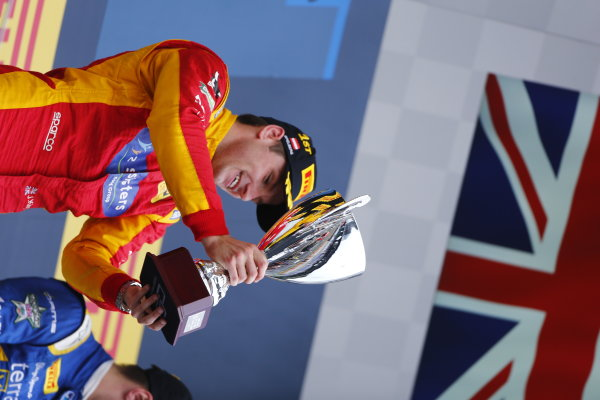 Jordan King (GBR, Racing Engineering lifts the trophy after winning the second gp2 race 2016 GP2 Series Round 4 Red Bull Ring, Spielberg, Austria. Sunday 3 July 2016.  Photo: Andy Hone/GP2 Series Media Service. ref: Digital Image _ONY5427