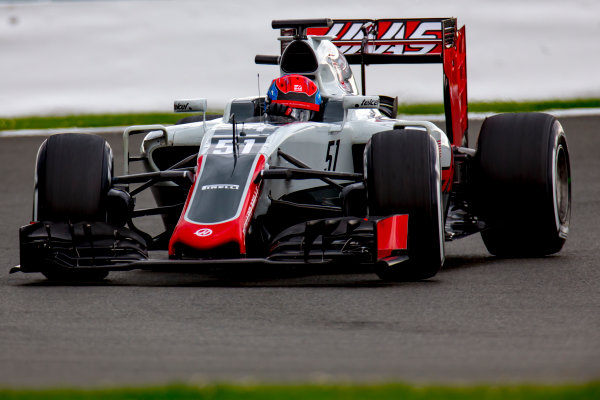 Silverstone, Northamptonshire, UK. Wednesday 13 July 2016. Santino Ferrucci, test and development driver, Haas VF-16.  World Copyright: Zak Mauger/LAT Photographic ref: Digital Image _79P1985