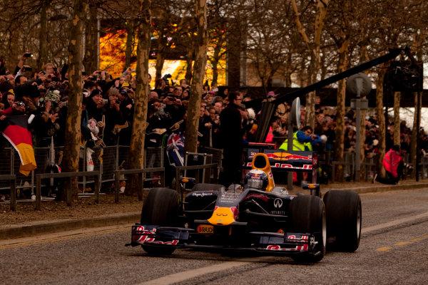 Milton Keynes.  Saturday 10th December 2011.Sebastian Vettel, Red Bull Racing RB7 Renault in action during the Red Bull Racing home run.Photo: Alastair Staley/LAT Photographic.Ref: Digital Image _O9T5157 jpg