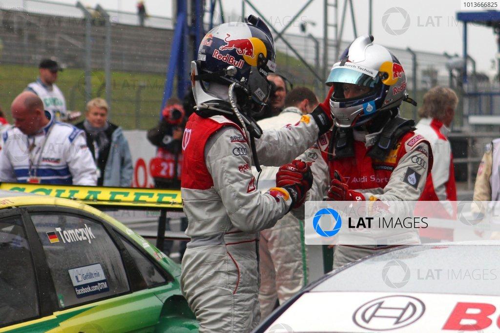 Congratulations to race winner Mattias Ekstrom (SWE), Audi Sport Team Abt Sportsline, Red Bull Audi A4 DTM (2009) from Martin Tomczyk (GER), Audi Sport Team Phoenix, Schaeffler Audi A4 DTM (2008) (2nd).DTM, Rd8, Oschersleben, Germany, 16-18 September 2011 Ref: Digital Image dne1118se537