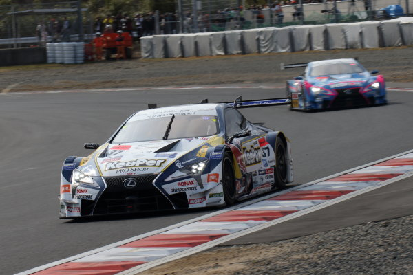 2017 Japanese Super GT Series. Okayama, Japan. 8th - 9th April 2017. Rd 1. GT500 Winner Ryo Hirakawa & Nick Cassidy ( #37 KeePer TOM'S LC500 ) action World Copyright: Yasushi Ishihara / LAT Images. Ref: 2017SGT_Rd1_002