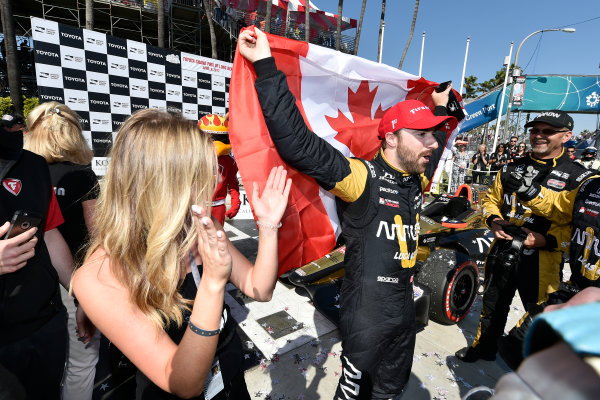 2017 Verizon IndyCar Series Toyota Grand Prix of Long Beach Streets of Long Beach, CA USA Sunday 9 April 2017 James Hinchcliffe celebrates the win in victory lane World Copyright: Scott R LePage/LAT Images ref: Digital Image lepage-170409-LB-7637