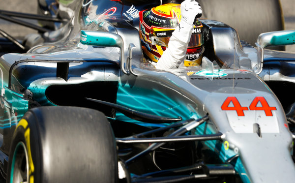 Circuit de Catalunya, Barcelona, Spain. Sunday 14 May 2017. Lewis Hamilton, Mercedes F1 W08 EQ Power+, 1st Position, celebrates on his way to Parc Ferme. World Copyright: Steven Tee/LAT Images ref: Digital Image _R3I2829