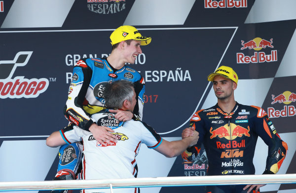 2017 Moto2 Championship - Round 4 Jerez, Spain Sunday 7 May 2017 Podium: race winner Alex Marquez, Marc VDS, third place Miguel Oliveira, Red Bull KTM Ajo World Copyright: Gold & Goose Photography/LAT Images ref: Digital Image 668736
