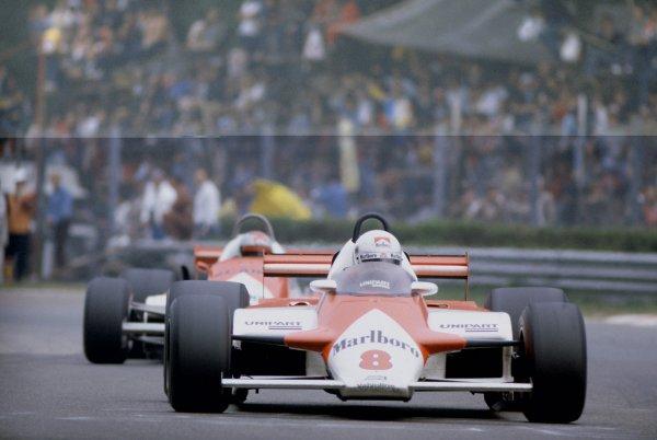 1981 Italian Grand PrixMonza, Italy. 11-13 September 1981.Andrea de Cesaris (McLaren MP4/1-Ford Cosworth), 7th position, leads Mario Andretti (Alfa Romeo 179C). Ref - 81ITA25.World Copyright - LAT Photographic