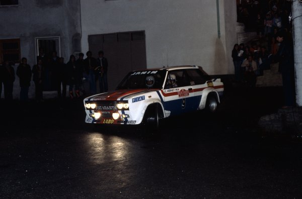 1977 World Rally Championship. Sanremo Rally, Italy. 4-8 October 1977. Jean-Claude Andruet/Christian Delferrier (Fiat 131 Abarth), 1st position. World Copyright: LAT Photographic Ref: 35mm transparency 77RALLY08