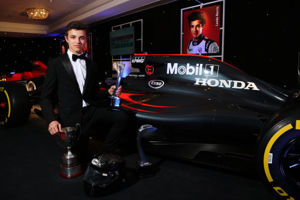 2016 Autosport Awards. Grosvenor House Hotel, Park Lane, London. Sunday 4 December 2016.  Lando Norris, Winner of the Young Driver of the Year Award.  World Copyright: /LAT Photographic. ref: Digital Image JL1_9640