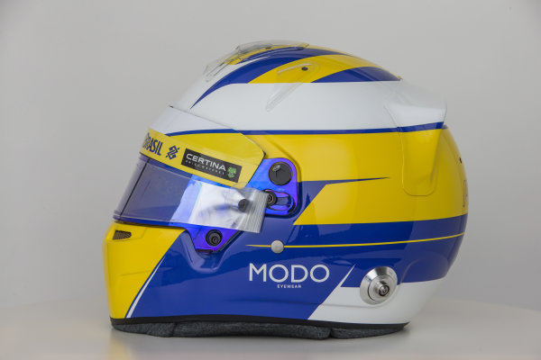 Sauber C34 Reveal. Hinwil, Switzerland. Thursday 29 January 2015. Helmet of Marcus Ericsson. Photo: Sauber F1 Team (Copyright Free FOR EDITORIAL USE ONLY) ref: Digital Image Sauber_2015_Helmet_30