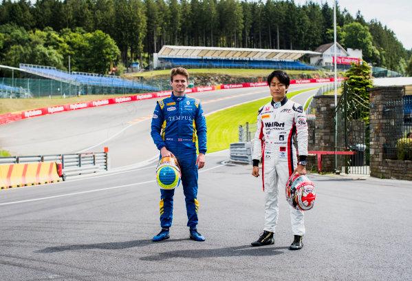 2017 FIA Formula 2 Round 8. Spa-Francorchamps, Spa, Belgium. Thursday 24 August 2017. Oliver Rowland (GBR, DAMS) and Nobuharu Matsushita (JPN, ART Grand Prix).  Photo: Zak Mauger/FIA Formula 2. ref: Digital Image _56I0245