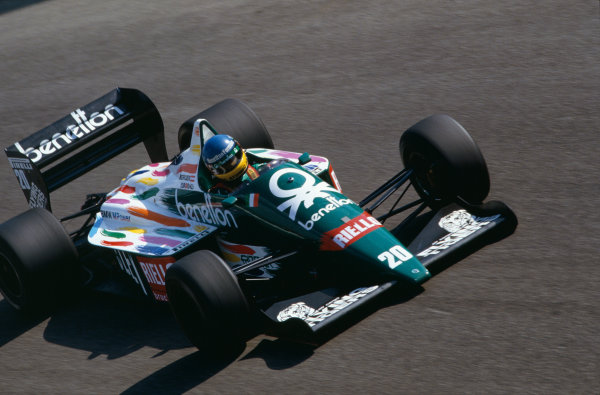 1986 Italian Grand Prix. Monza, Italy. 5th - 7th September 1986. Gerhard Berger (Benetton B186-BMW), 5th position, action.  World Copyright: LAT Photographic.  Ref:  86ITAaa