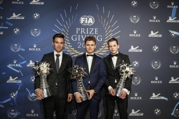 Karting champions Marinjs Kremers, Thomas ten Brinke and Lorenzo Travisanutto