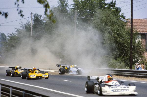 Tom Pryce, Chevron B35 Hart, crashes out. Giancarlo Martini, March 762 BMW/Rosche, leads Giorgio Francia, Chevron B35 BMW, and Keke Rosberg, Toj F201 BMW.