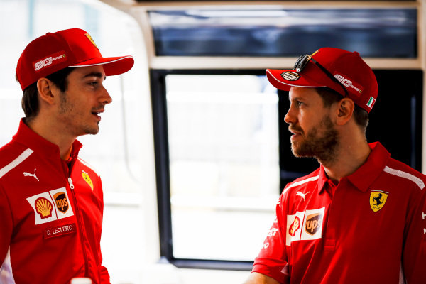 Sebastian Vettel, Ferrari and Charles Leclerc, Ferrari on the way to the Federation Square event.