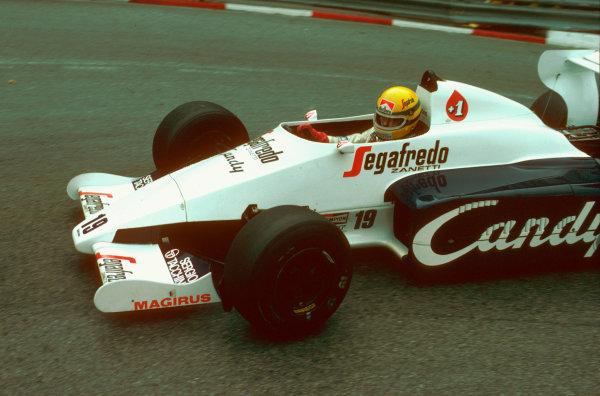 Monte Carlo, Monaco.31/5-3/6 1984.Ayrton Senna (Toleman TG184 Hart) 2nd position, at Loews Hairpin.Ref-84 MON 12.World Copyright - LAT Photographic
