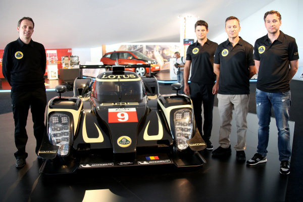 Official unveiling of the all new Lotus T129 LMP1 prototype car at the Innovation Centre. The Kodewa Racing Team are now hopeful of having the car ready for the fifth round of the WEC: the 6 Hours of Circuit of the Americas in Austin, Texas on 20 September 2014.Lotus LMP Team including drivers (R-L): Christijan Albers (NED), Christophe Bouchut (FRA), Pierre Kaffer (GER) and Lotus LMP Head of Operations, Boris Bermes, far left.24 Heures du Mans, Le Mans, France, 12 June 2014.