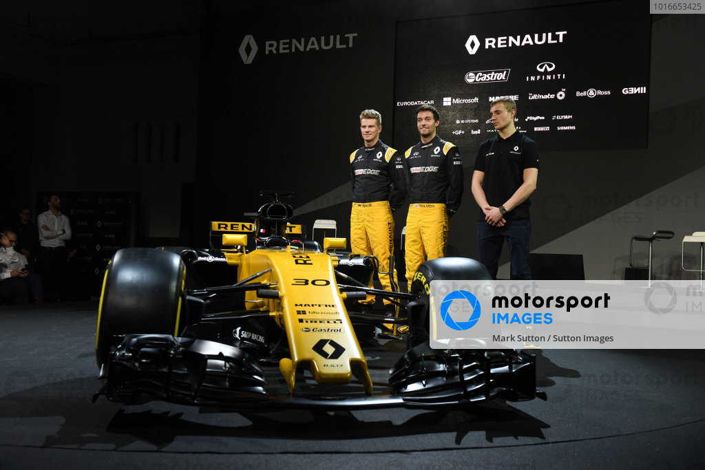 Nico Hulkenberg (GER) Renault Sport F1 Team, Jolyon Palmer (GBR) Renault Sport F1 Team and Sergey Sirotkin (RUS) Renault Sport F1 Team Test Driver at Renault Sport F1 Team RS17 Reveal, The Lindley Hall, London, England, 21 February 2017.