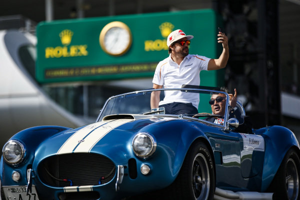 Fernando Alonso, McLaren, on the drivers parade