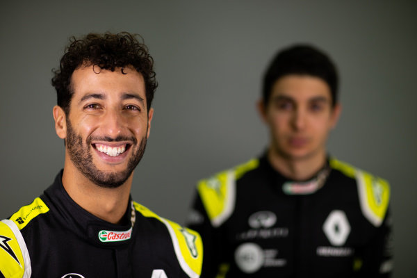 Daniel Ricciardo (AUS) Renault F1 Team with team mate Esteban Ocon (FRA) Renault F1 Team. Copyright: James Moy/XPB/Renault F1