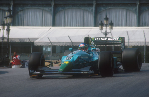 1990 Monaco Grand Prix.Monte Carlo, Monaco.25-27 May 1990.Ivan Capelli (Leyton House CG901 Judd). On the first start his car caught fire. Luckily, he was able to start the second race in the spare, but as race progressed his brakes became more and more difficult, so he exited the race after 13 laps.Ref-90 MON 27.World Copyright - LAT Photographic