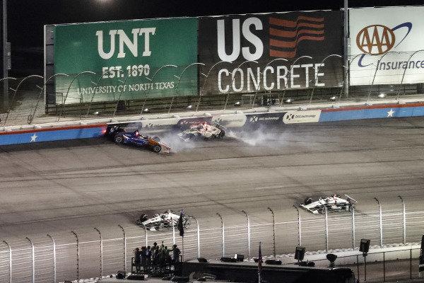 Scott Dixon, Chip Ganassi Racing Honda, Colton Herta, Harding Steinbrenner Racing Honda, crash, Alexander Rossi, Andretti Autosport Honda