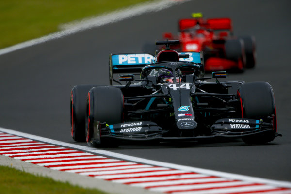 Lewis Hamilton, Mercedes F1 W11 EQ Performance, leads Charles Leclerc, Ferrari SF1000