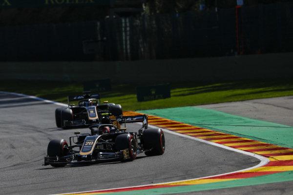 Kevin Magnussen, Haas VF-19, leads Romain Grosjean, Haas VF-19