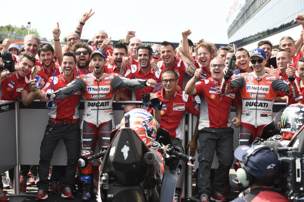 Race winner Andrea Dovizioso, Ducati Team, second place Jorge Lorenzo, Ducati Team.