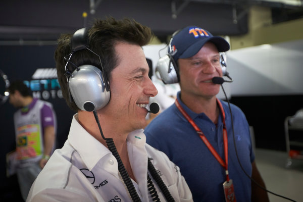 Interlagos, Sao Paulo, Brazil. Sunday 12 November 2017. Toto Wolff, Executive Director (Business), Mercedes AMG, with Rubens Barrichello. World Copyright: Steve Etherington/LAT Images  ref: Digital Image SNE18126